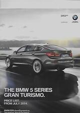 BMW 5 SERIES GRAN TURISMO PRICE LIST CAR  BROCHURE JULY 2014