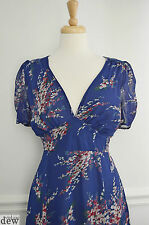 NEW LOOK blue CHERRY BLOSSOM floral 40'S 1940's tea DRESS pretty VINTAGE 10