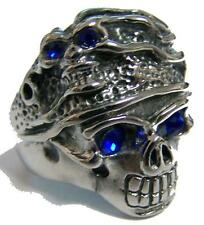 CRYSTAL BLUE EYES SKULL HEAD HAT STAINLESS STEEL RING size 8 silver S-533 biker