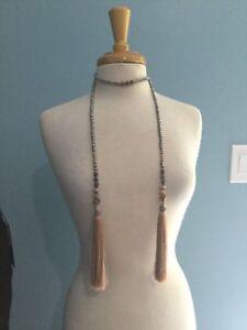 NWT Anthropologie Shimmer Stone Tassel Wrap Fringe Beaded Necklace Beige