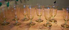 Vintage depression glass Tiffin paneled set of 9 yellow juice glasses-MINT