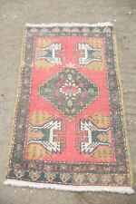 Small Oushak Rug, Turkish Small Rug, Vintage Bedside Rug, Ushak Door Mat 1'8x3'5