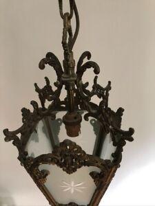 Edwardian style lantern brass and glass