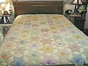 """Vintage Hand Made Many Stars Quilt - 96"""" x 80"""" - Hand Quilted-White Backing-WOW"""
