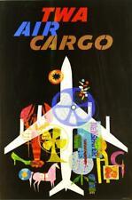 "Vintage TWA Travel Poster A4 CANVAS PRINT ~ Air Cargo 12"" X 8"""