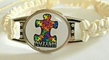 Autism Awareness Jigsaw Piece Badge on Chunky Macrame Bracelet (Cream)