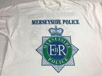 Merseyside Police T-Shirt VTG Fits Adult Medium England UK Pals ER White Green