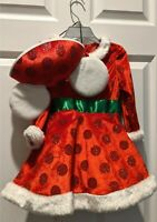 NWT Disney Parks Minnie Mouse Holiday Dress Red & Green Bow & Ear Hat XXS sz 2-3