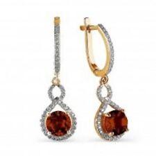 Russian Rose Gold 14k/ 585 Garnet CZ Dangle Earrings Snap Closure 4.63 G