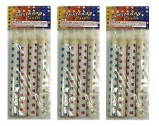 """3x Birthday Wedding Bottle 7"""" Party White Dots Sparkling Candles Outdoor only"""