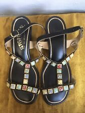 Vintage 1960s 1970s Jewel Studded Black Chunky Sandals Heels Beacon Signals 7 M