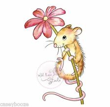 Wild Rose Studio - Clear Rubber Stamps - Mouse & Flower - 494 - New Out