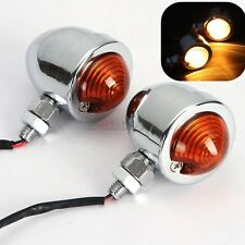 2x Chrome Motorcycle Turn Signals Mini Bullet Blinker Amber Indicator Lights