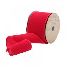 2 yards  - 63mm  wide RED VELVET CHRISTMAS WIRED EDGE RIBBON DECORATIVE XMAS