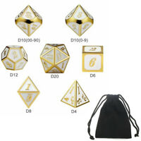 7pcs Embossed Heavy Metal Polyhedral Dice DND RPG MTG Role Playing SET With Bag