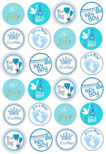 Baby Shower Its a Boy Cupcake Fairy Cake Edible Wafer Paper Toppers x 24