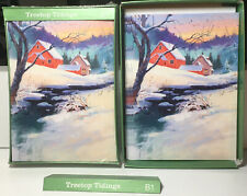New Treetop Tidings Holiday Christmas Greeting Cards Boxes Lot Snowy Scene House