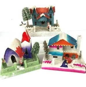 3-1950 Vintage Putz Christmas Cardboard Mica Houses Japan stamp Light Hole Santa