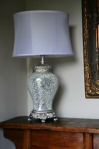 Large Silver Regency Sparkle Mosaic Table Lamp  79cm height White shade