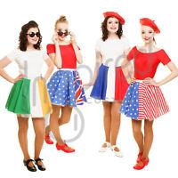 """Ladies Flag 17"""" Skater Panel Skirt OLYMPICS WORLD FLAG DAY Fancy Dress FRANCE UK"""