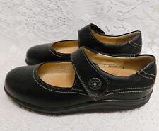 FINN COMFORT SALO BLACK LEATHER MARY JANE~WOMENS US 7.5 C WIDE WIDTH~ROCKER SOLE