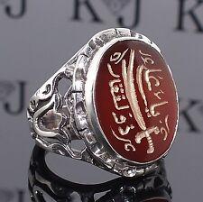 925 Sterling Silver Islamic Mens ring Carnelian Aqeeq Zulfiqar custom handmade
