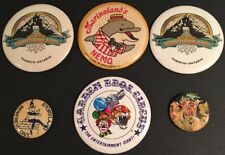 Vintage Lot of 6 Canadian Theme Park 1980's Button Pins Wonderland, Marineland