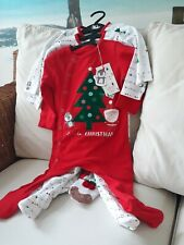 MOTHERCARE CHRISTMAS SET OF 3 SLEEP SUITS AGE 6/9 MONTHS