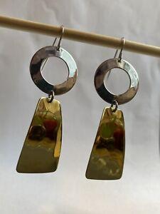 New! RLM Studio Robert Lee Morris Sterling Silver Brass Drop Dangle Earrings
