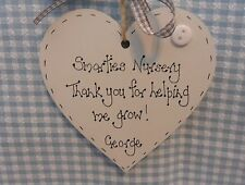 "Personalised Nursery Teacher  Gift "" Thankyou  leaving gift    wooden heart"