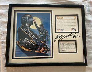Rusty Wallace Sam Bass Framed Mini Print Maxx Raced Cards Autographed No COA