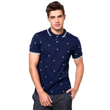 Newyork Army 100% Cotton Stripe Collar Sailboat Print Men's Polo Shirt /NavyBlue