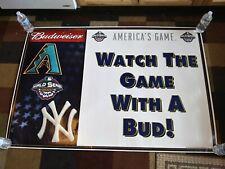*Rare Budweiser World Series Diamondbacks Yankees Sign Poster Banner 2001