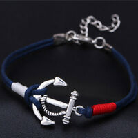 2X HOT CHARM SILVER ANCHOR MULTILAYER ROPE BRAIDED BRACELET WOMEN SUMMER JEWELRY