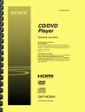 Sony DVP-NC85H CD DVD Player OWNER'S OPERATING INSTRUCTIONS MANUAL