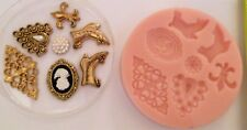FASHION, CAMEO, FLEUR DE LIS VINTAGE SILICONE MOULD FOR CAKE TOPPERS, CHOCOLATE