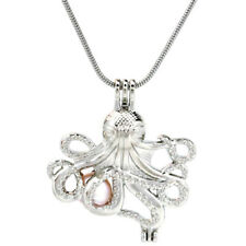 """Pick a Pearl Octopus Locket Pendant Bead Cage 22"""" Steel Snake Chain S-KP184"""