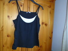 1 Black strappy waist length top with white insert, PAPAYA, size 10
