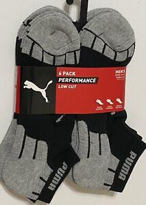 Puma Performance  6-Pair Men's Low Cut Socks  Black/Gray