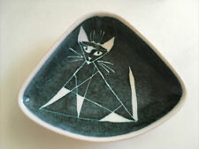 VINTAGE MID CENTURY MODERNIST STUDIO POTTERY BOWL CAT MOTIF SIGNED RB DEVON 24cm