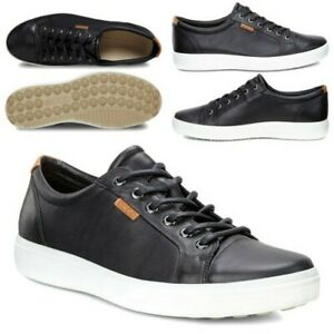 Ecco Mens Soft 7 M Leather Low Top Trainers Lace Up Comfort Black Sneakers Shoes