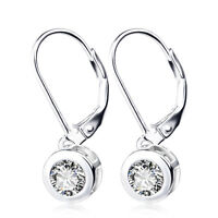 925 Sterling Silver 2.00 ct. Round 5mm CZ Leverback Earrings Drop Dangle