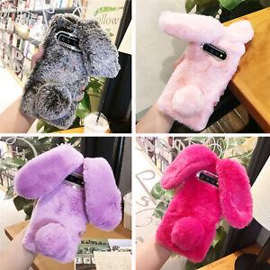Plush Bunny Bling Glitter Diamond Fluffy Rabbit Fur Case Cover For Cell Phone I
