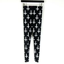 M - Black Milk Cross of Peter Black & White Stretch Pants Leggings 0000MB