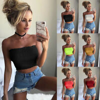 Women's Off Shoulder Elastic Tube Tops Blouse Strapless Bandeau Crop Tops Shirt
