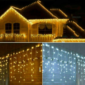 LED Eisregen Lichtervorhang Außen Lichterkette IP65 Außen Garten Party Deko DHL