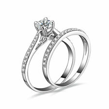 2PC CZ 925 STERLING SILVER WEDDING ENGAGMENT RING SET WOMEN HS SIZE 3-11.5 SS030