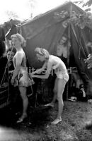 WW2 Photo two female entertainers preparing to act 1944 WWII 443