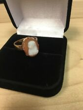 ANTIQUE VICTORIAN 10K GOLD HARD STONE CAMEO RING SZ 5 1/2