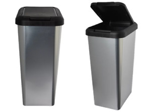 45L SILVER IML TOUCH & LIFT RECTANGLE SWING KITCHEN WASTE RUBBISH RECYCLE BIN